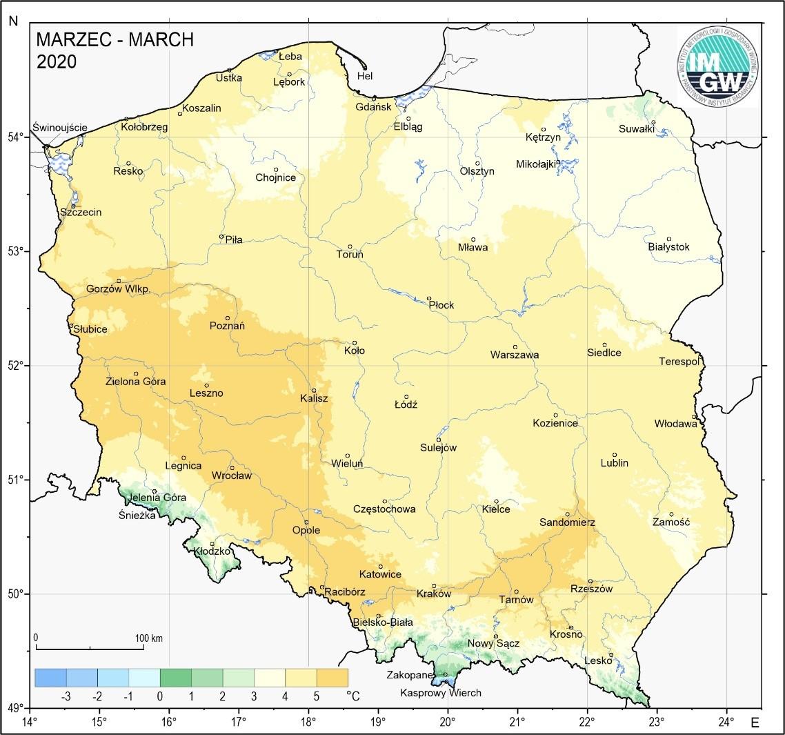 Mapa 1. Przestrzenny rozkład średniej miesięcznej temperatury powietrza w marcu 2020 r.