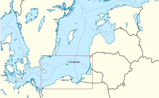 Obszar Bałtyku Południowego z zaznaczoną lokalizacją platformy Petrobaltic