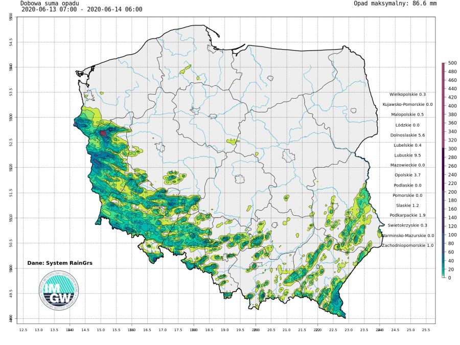 Dobowa suma opadów z systemu RainGR zanotowana 13 czerwca podczas burz przechodzących przez południową i zachodnią część Polski