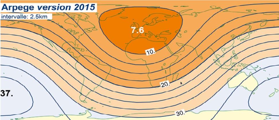 Siatka modelu globalnego ARPEGE; najlepsza rozdzielczość z jaką prognozuje model (7.6 km) znajduje się w Europie (źródło: Centre National de Recherches Meteorologiques, France)
