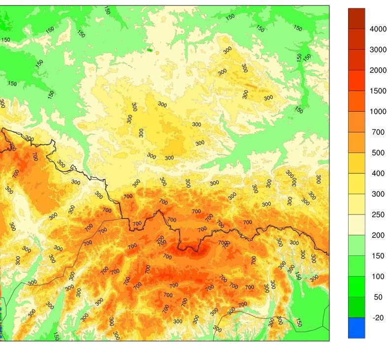 Topografia modelu AROME o rozdzielczości 0.5 km – testowa domena dla Tatr; przy tak dobrej rozdzielczości widać poszczególne pasma górskie oraz doliny rzek (źródło: Zakład Prognoz Numerycznych ALADIN)
