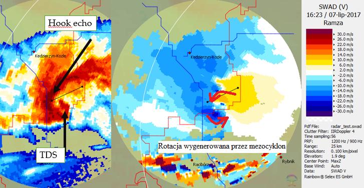 Obraz z radaru meteorologicznego, prezentujący intensyfikację superkomórki burzowej, która 7 lipca 2017 roku przeszła w okolicach Kędzierzyna-Koźla.