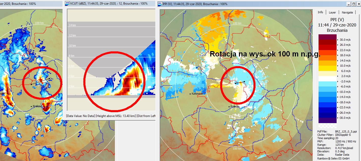 Obraz z radaru meteorologicznego z sygnaturą BWER