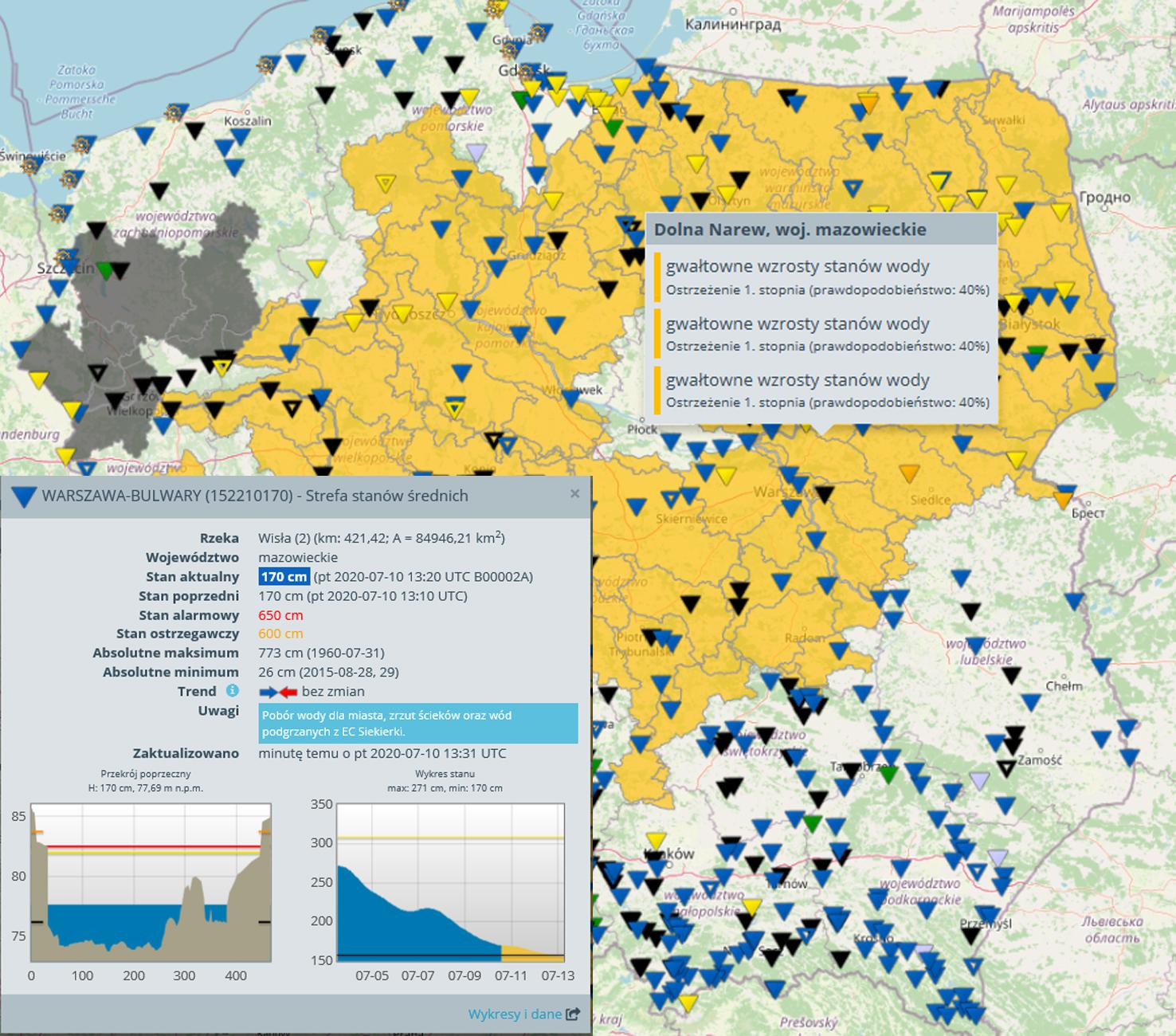 Platforma Monitor IMGW służy do przekazywania najaktualniejszych danych hydrologicznych i metrologicznych w przejrzystej formie