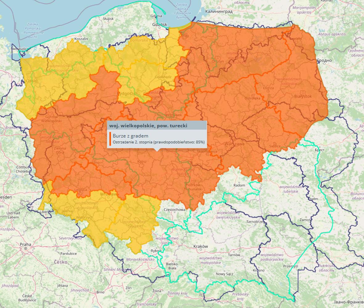 Mapa przedstawiająca aktualnie obowiązujące ostrzeżenia meteorologiczne