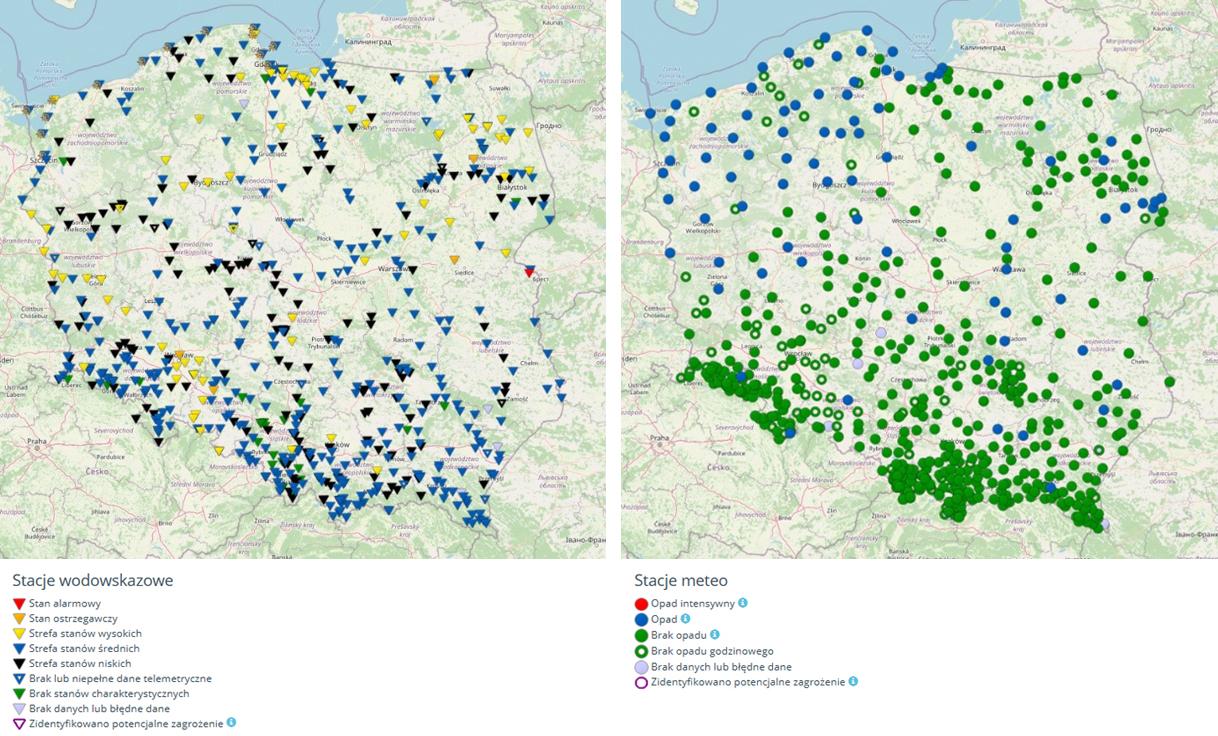 Na mapach mamy możliwość wyświetlenia wszystkich aktywnych stacji pomiarowych oraz podgląd na ich aktualną sytuację meteorologiczną lub hydrologiczną