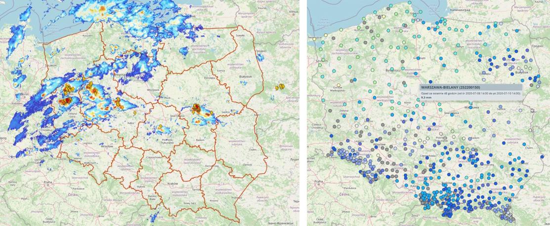 Mapa przedstawiająca dane radarowe i wyładowania (lewa grafika) oraz sumy opadów za 48 godzin na stacjach obserwacyjnych (prawa grafika)