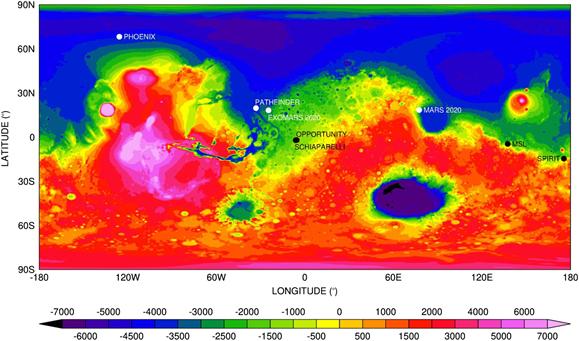 Topografia Marsa opracowana na podstawie danych MOLA
