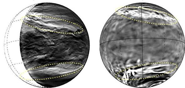 Porównanie obrazów chmur Wenus uzyskanych w symulacji AFES-Venus (po prawej) oraz za pomocą kamery Akatsuki IR2 (po lewej).
