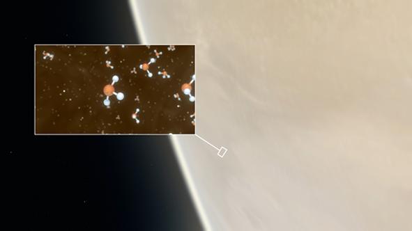 Wizualizacja budowy cząsteczek fosforowodoru (PH3) wykrytych w atmosferze Wenus; w tle fragment zachmurzonej planety Wenus