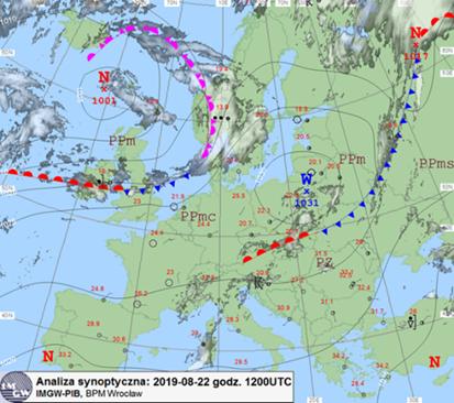 Mapa synoptyczna dolna, 22.08.2019 r., godz. 12 UTC