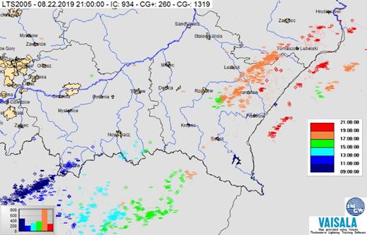 Mapa zbiorcza wyładowań atmosferycznych w Polsce południowo-wschodniej z systemu LTS, 22.08.2019