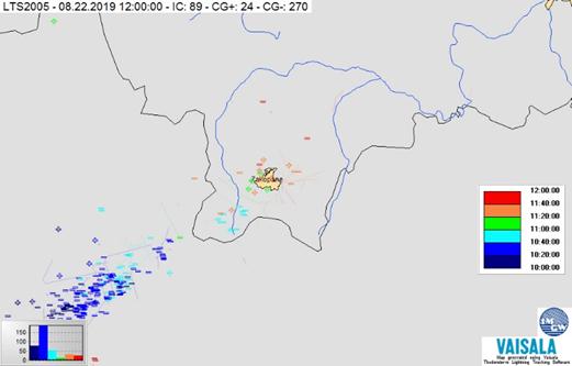 Mapa zbiorcza wyładowań atmosferycznych w rejonie Tatr z systemu LTS, 22.08.2019 r., godz. 10:00-12:00 UTC