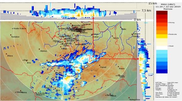 Maksymalna odbiciowość radarowa z radaru w Ramży, 22.08.2019, godz. 11:20 UTC