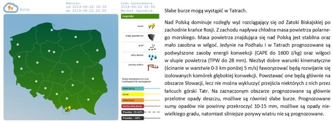 Prognoza burz na dzień 22.08.2019 r., opublikowana na stronie www.pogodynka.pl