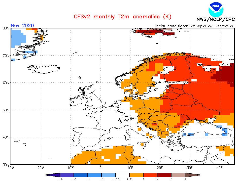 Prognoza CSFv2 odchyleń temperatury powietrza od średniej wieloletniej (źródło: Climate Prediction Center, Seasonal climate forecast from CFSv2)