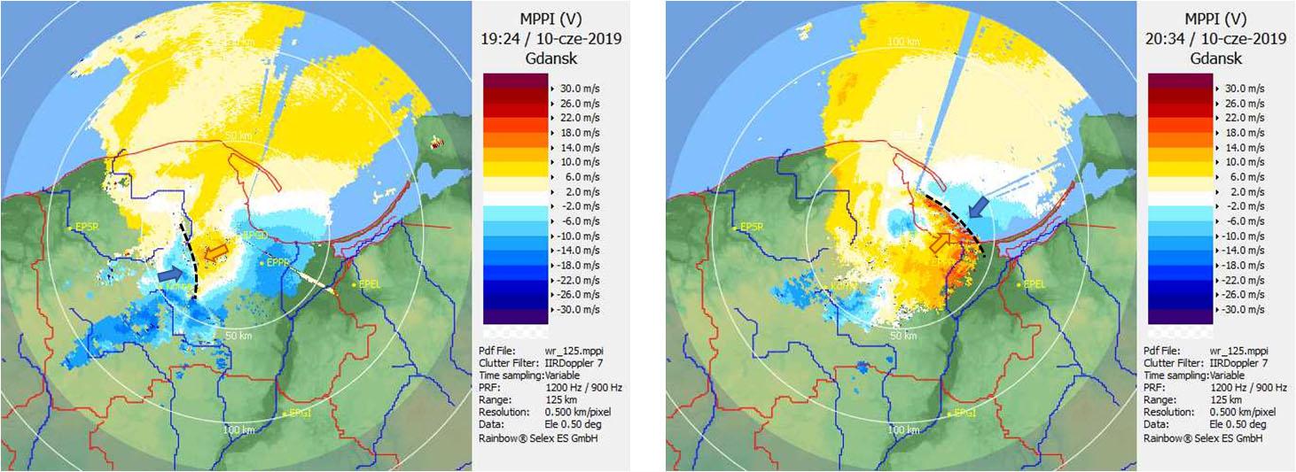 Radar Gdańsk, produkt PPI(V) – prędkość radialna (m/s) na kącie elewacji 0,5°, 10.06.2019, godz. 19:24 UTC i 20:34 UTC