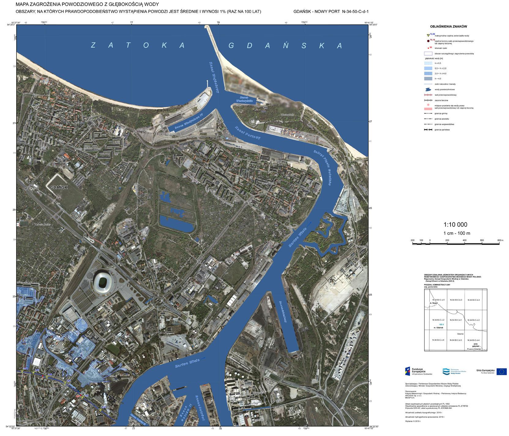 Mapa zagrożenia powodziowego. Gdańsk (https://isok.gov.pl/hydroportal.html)
