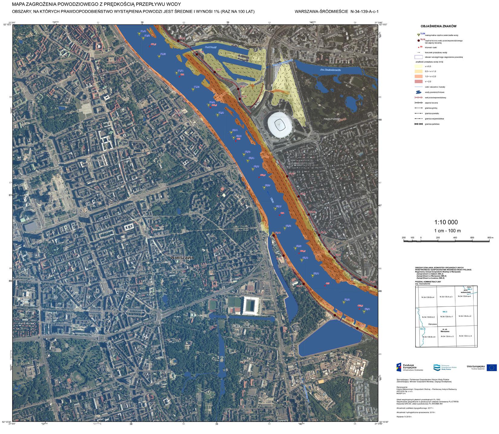 Warszawa. Mapa zagrożenia powodziowego (https://isok.gov.pl/hydroportal.html)
