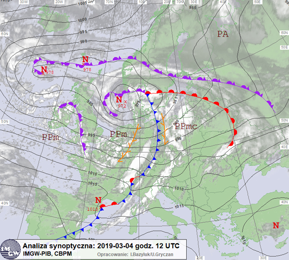 Mapa synoptyczna dolna; 04.03.2019, godz. 12 UTC. Chłodny front atmosferyczny przy zachodniej granicy Polski, związany z niżem znad Morza Północnego.