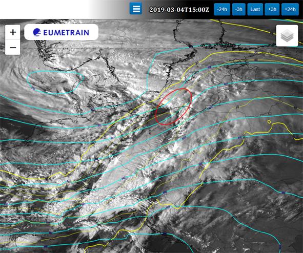 Wysokość powierzchni izobarycznej 500 hPa (linia niebieska), izotachy na powierzchni izobarycznej 300 hPa (linia żółta) z modelu ECMWF; obraz satelitarny HRV; 04.03.2019, godz. 15 UTC.