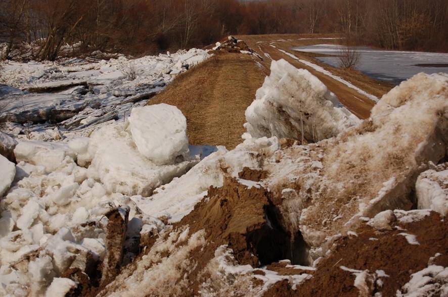 Wisła (Kępa Polska) – spiętrzona kra uszkadza wał przeciwpowodziowy (fot. IMGW-PIB)