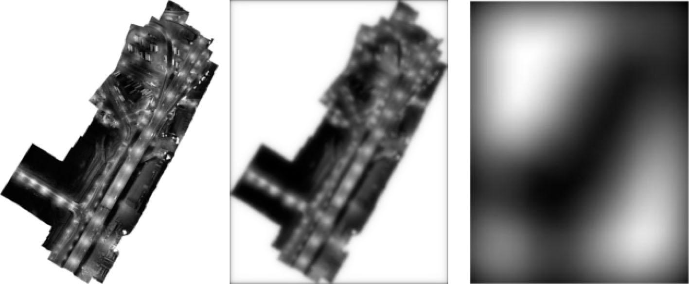 Po lewej ortoobraz jednego z bardziej uczęszczanych rejonów Gdyni – okolice terminala kontenerowego (autor: P. Burdziakowski). Środkowa grafika przedstawia rozchodzenie się światła na wysokości od 1 m do 10 m nad powierzchnią (opracowanie własne). Po prawej obraz rozchodzenia się światła na wysokości 40 km nad powierzchnią (opracowanie własne).