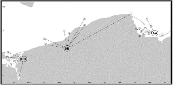 Rejony obserwacji zlodzenia na polskim wybrzeżu Bałtyku (www.bsis-ice.de/fairway_areas/poland.pdf)