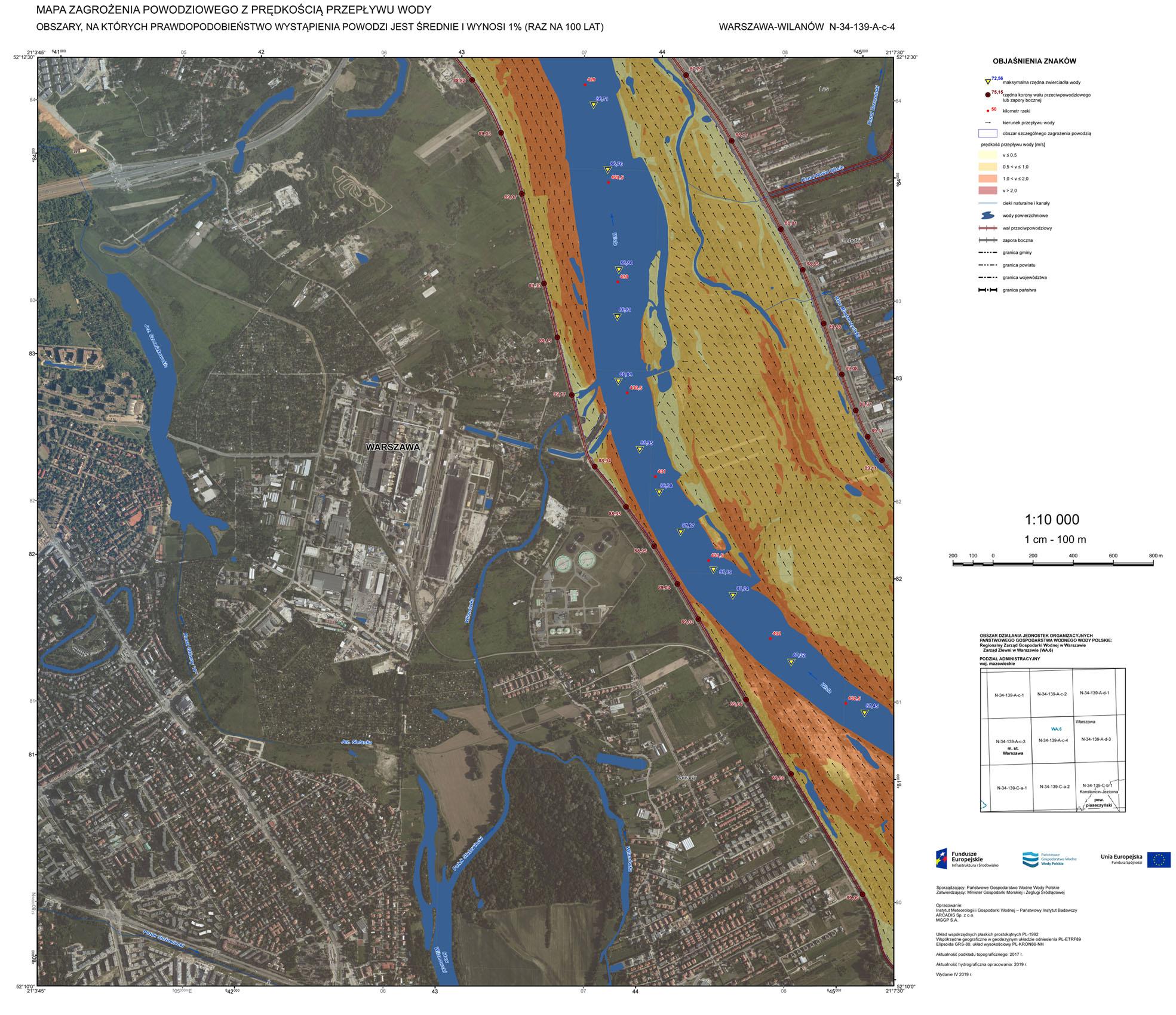 Mapa zagrożenia powodziowego. Warszawa-Wilanów.