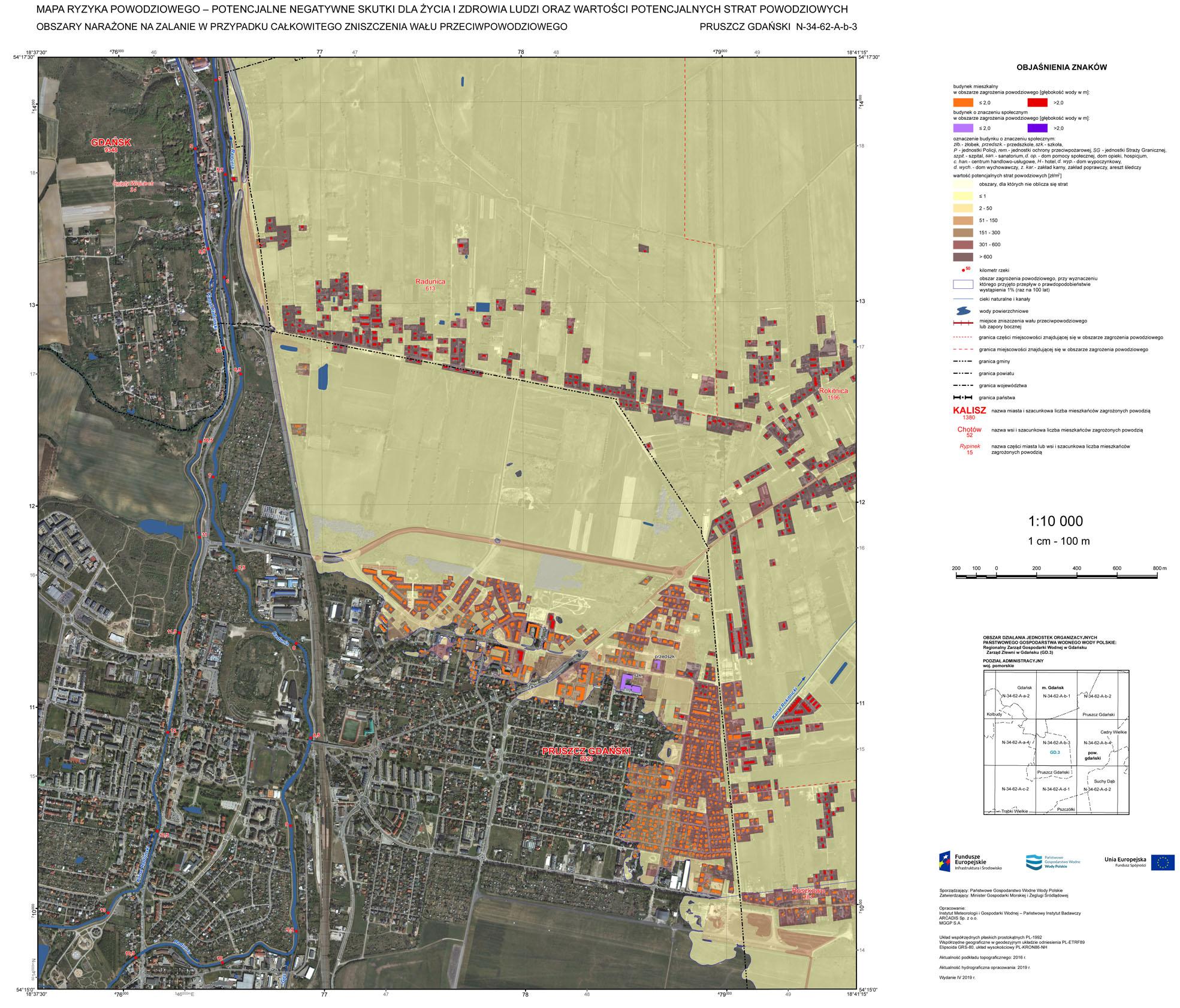 Mapa ryzyka powodziowego; Pruszcz Gdański.