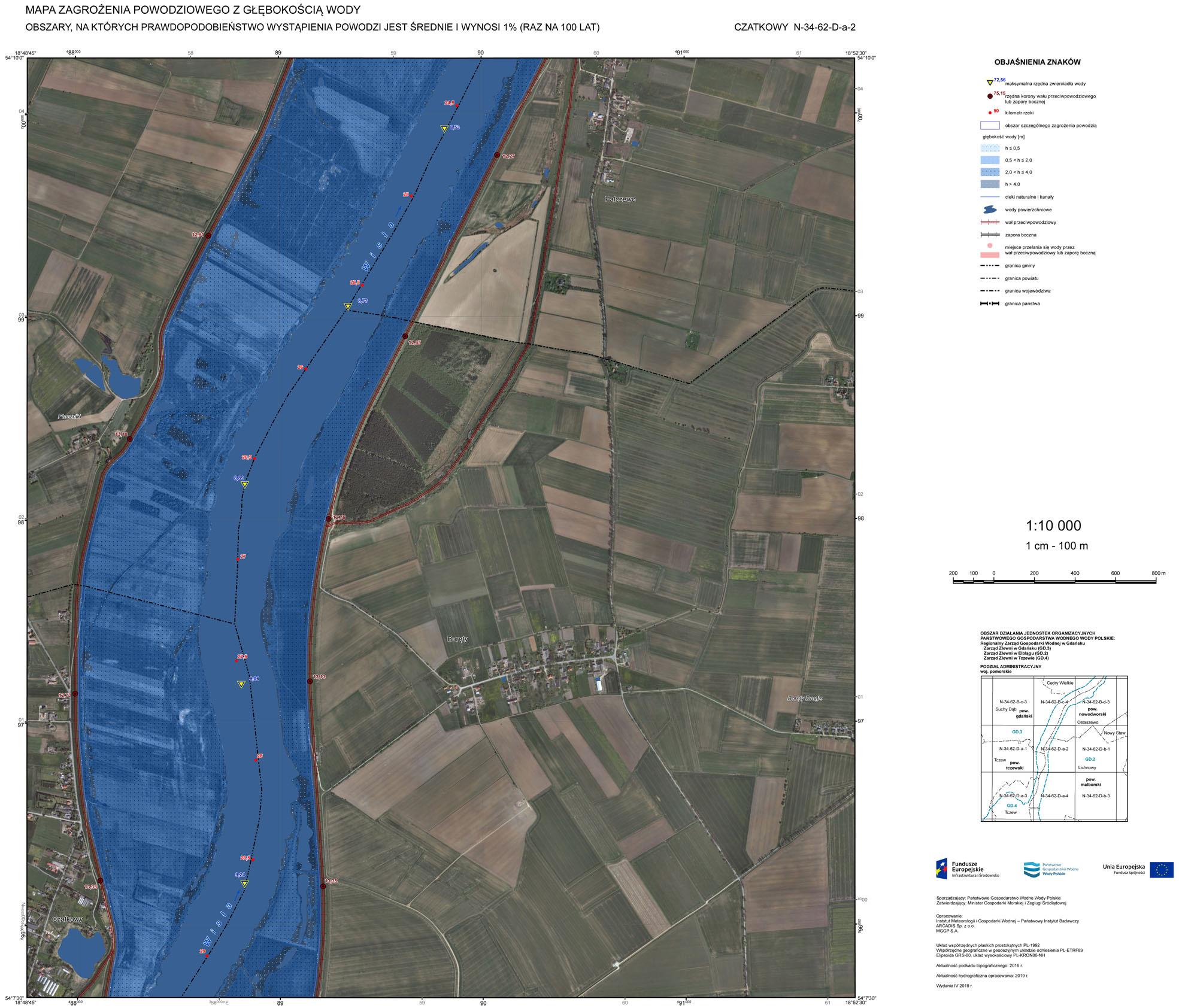 Mapa zagrożenia powodziowego. Czatkowy.