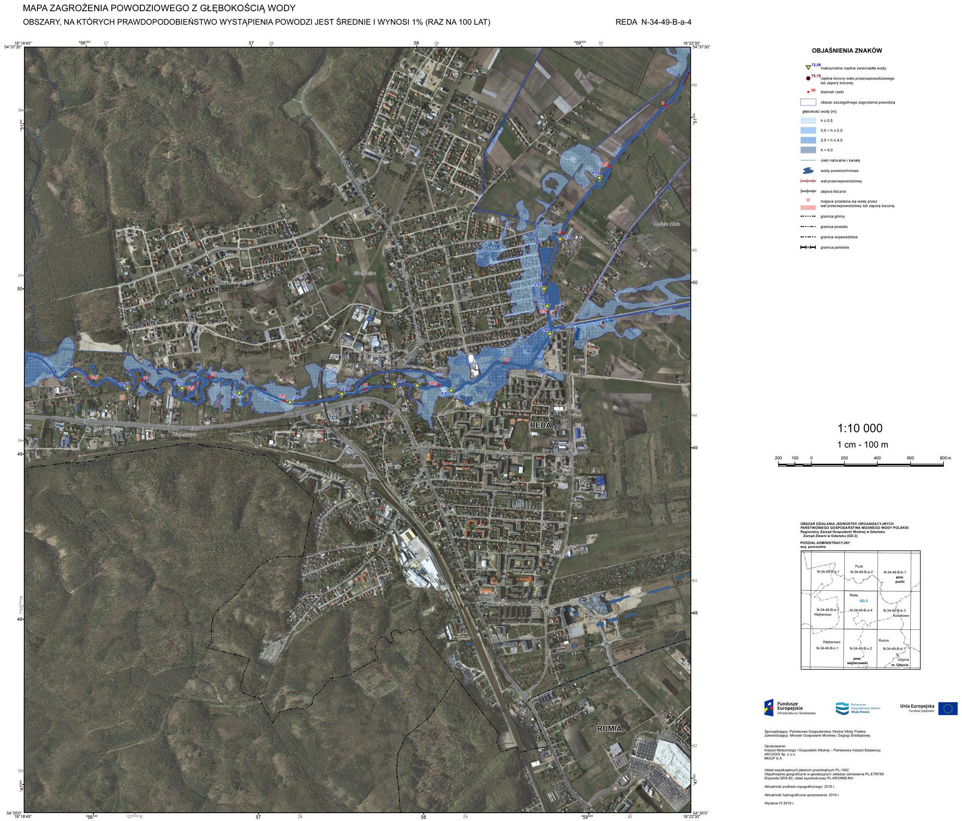 Mapa zagrożenia powodziowego; Reda.