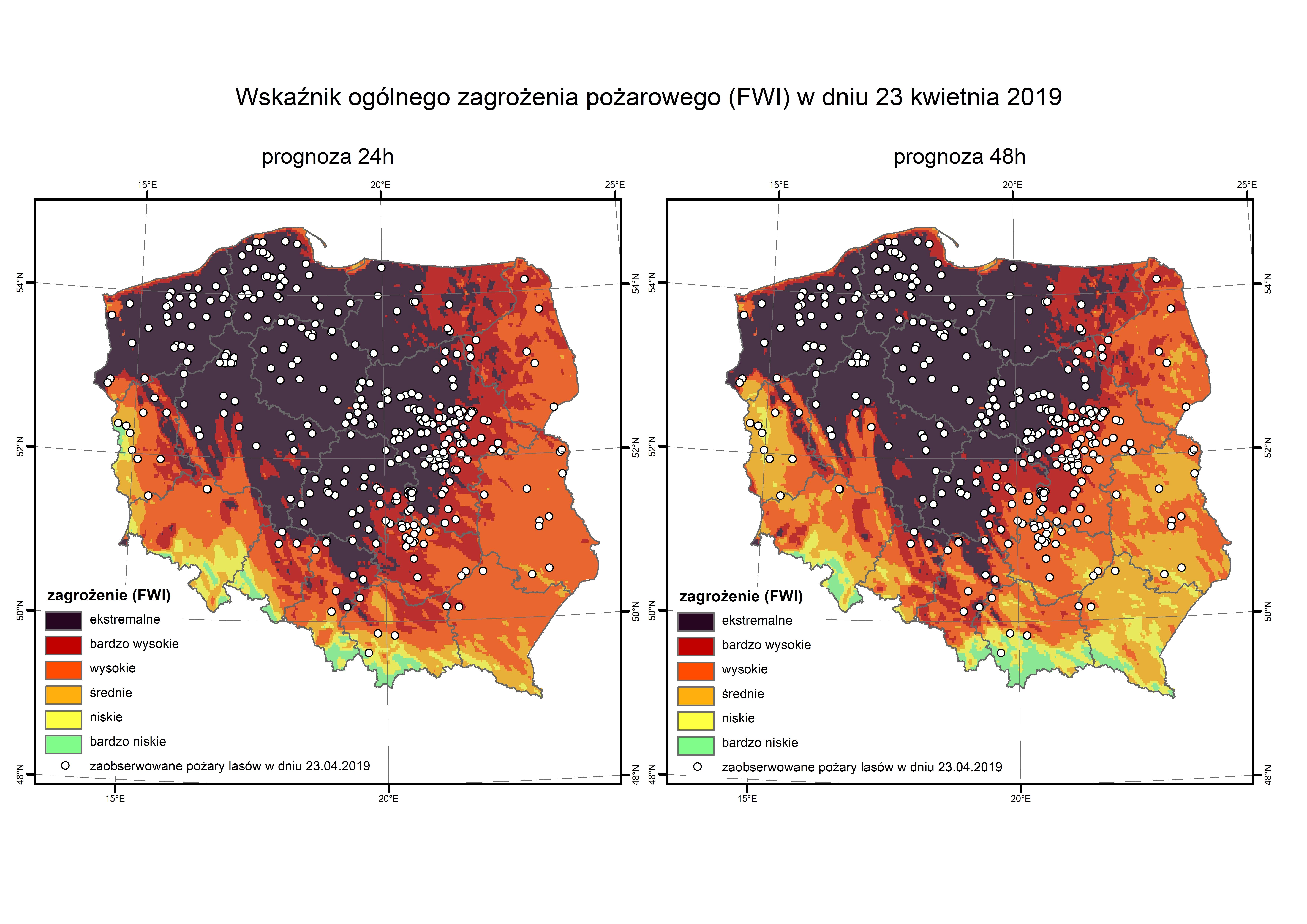 Pożary lasów zaobserwowane 23 kwietnia 2019 roku na tle wysokorozdzielczej prognozy wskaźnika FWI (ogólnego zagrożenia pożarowego) na ten dzień z 22 i 21 kwietnia 2019 roku; źródło danych o pożarach: Państwowa Straż Pożarna.