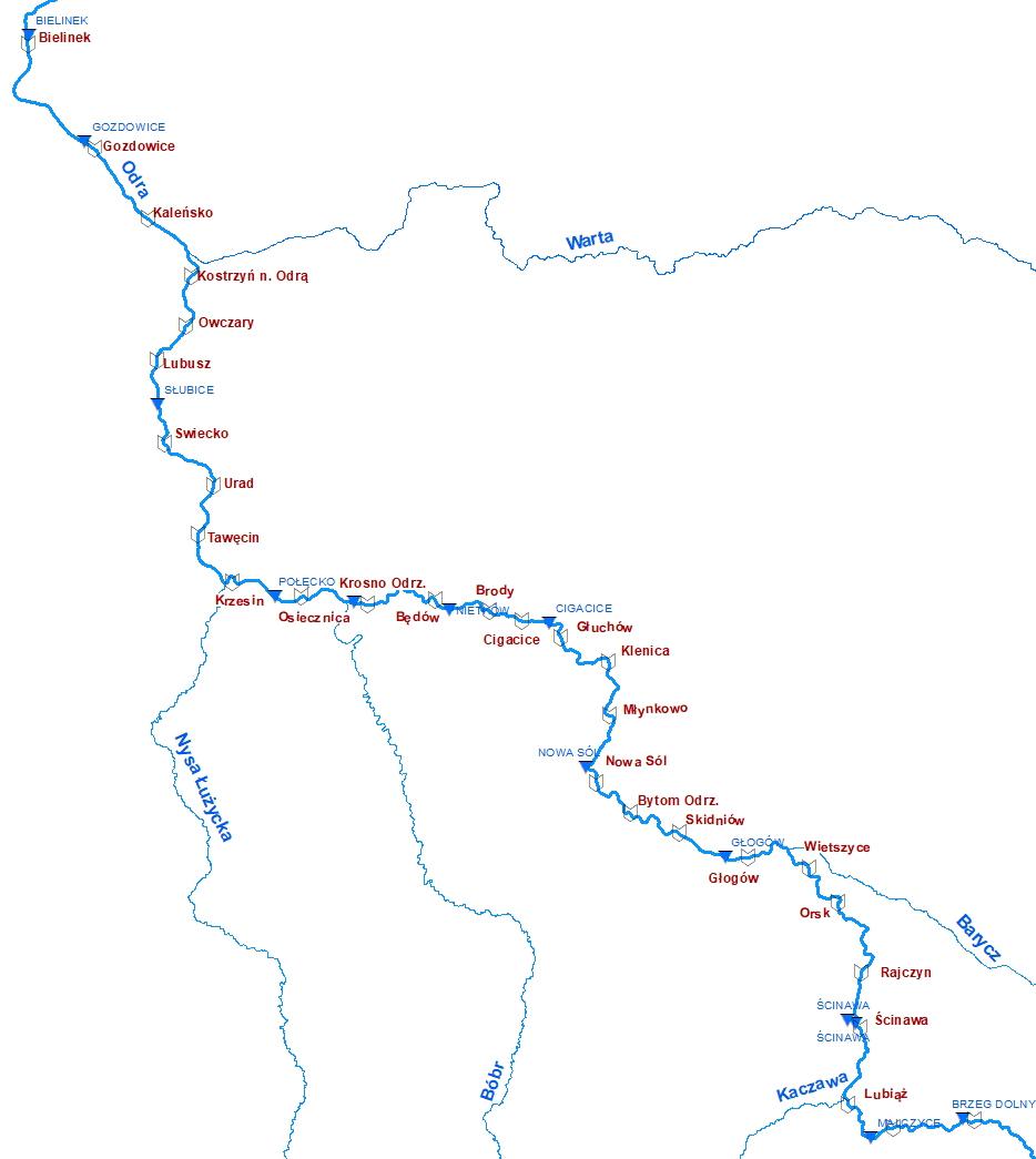 Lokalizacja planowanych stopni wodnych na Odrze swobodnie płynącej; niebieskim trójkątem zaznaczono stacje wodowskazowe (źródło: IMGW-PIB, Zarząd Portów Morskich Szczecin i Świnoujście).