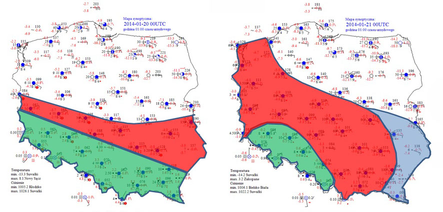Mapy synoptyczne z 20 i 21 stycznia 2014 roku z zaznaczonym obszarem wystąpienia gołoledzi.