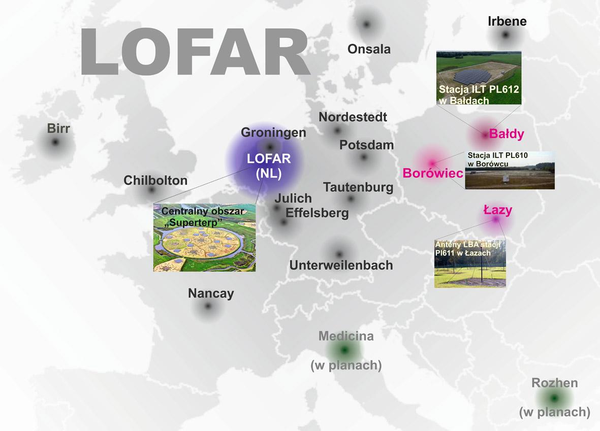 Mapa Europy z zaznaczonym rozmieszczeniem aktualnych i planowanych elementów radioteleskopu LOFAR.