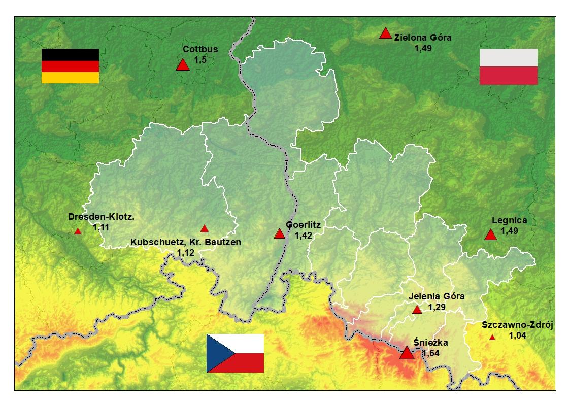 Zmiany średniej rocznej temperatury powietrza w regionie granicznym Polska-Saksonia w latach 1971-2015.
