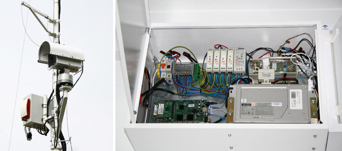 Aparat fotograficzny umieszczony na maszcie oraz część systemu sterującego automatyczną stacją fenologiczną w Trzebawiu.
