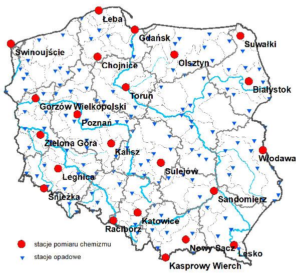 Sieć stacji pomiarowo-kontrolnych IMGW-PIB w ramach ogólnopolskiego monitoringu chemizmu opadów atmosferycznych i oceny depozycji zanieczyszczeń do podłoża.