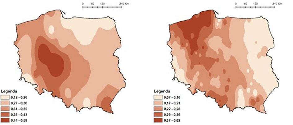 Rozkład przestrzenny stężeń azotu azotynowego i azotanowego (mg/l N) w opadach atmosferycznych (lewa grafika) oraz obciążenie powierzchniowe na obszarze Polski ładunkami azotu azotynowego i azotanowego (kg/ha N) (prawa grafika) wniesionymi przez opady we wrześniu 2019 roku.
