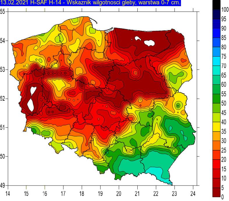 Wskaźnik wilgotności gleby na głębokości 0-7 cm w dniu 13 lutego 2021r. na podstawie obrazów satelitarnych. W okresie zimowym wartości zbliżone do zera (kolor biały i czerwony) oznaczają przemarznięcie gleby.