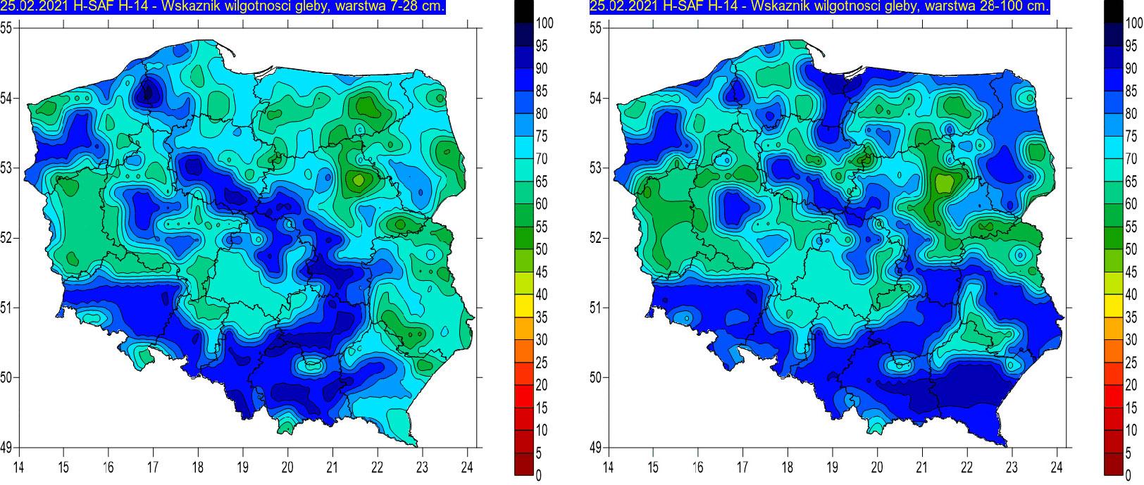 Wskaźnik wilgotności gleby na głębokości 7-28 cm (lewa grafika) i 28-100 cm (prawa grafika) w dniu 25 lutego 2021 r. na podstawie obrazów satelitarnych.