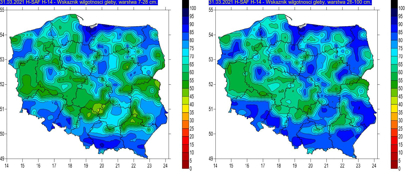 Wskaźnik wilgotności gleby na głębokości 7-28 cm (lewa grafika) i 28-100 cm (prawa grafika) w dniu 31 marca 2021 r. na podstawie obrazów satelitarnych.