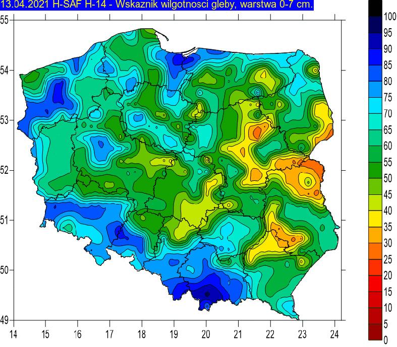 Wskaźnik wilgotności gleby na głębokości 0-7 cm w dniu 13 kwietnia 2021r. na podstawie obrazów satelitarnych.