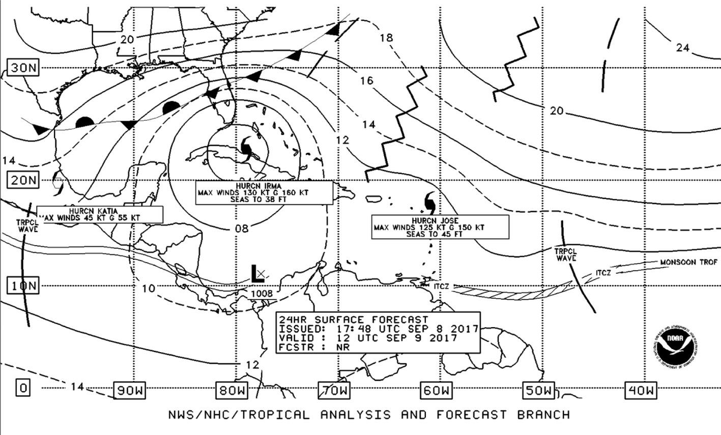 Bardzo rzadka sytuacja, gdy na jednym obszarze w tym samym czasie występują dwa bardzo aktywne huragany (Irma i Jose) oraz trzeci, słabnący do siły sztormu tropikalnego, huragan Katia; 08.09.2017 (źródło: National Weather Service NOAA, USA).
