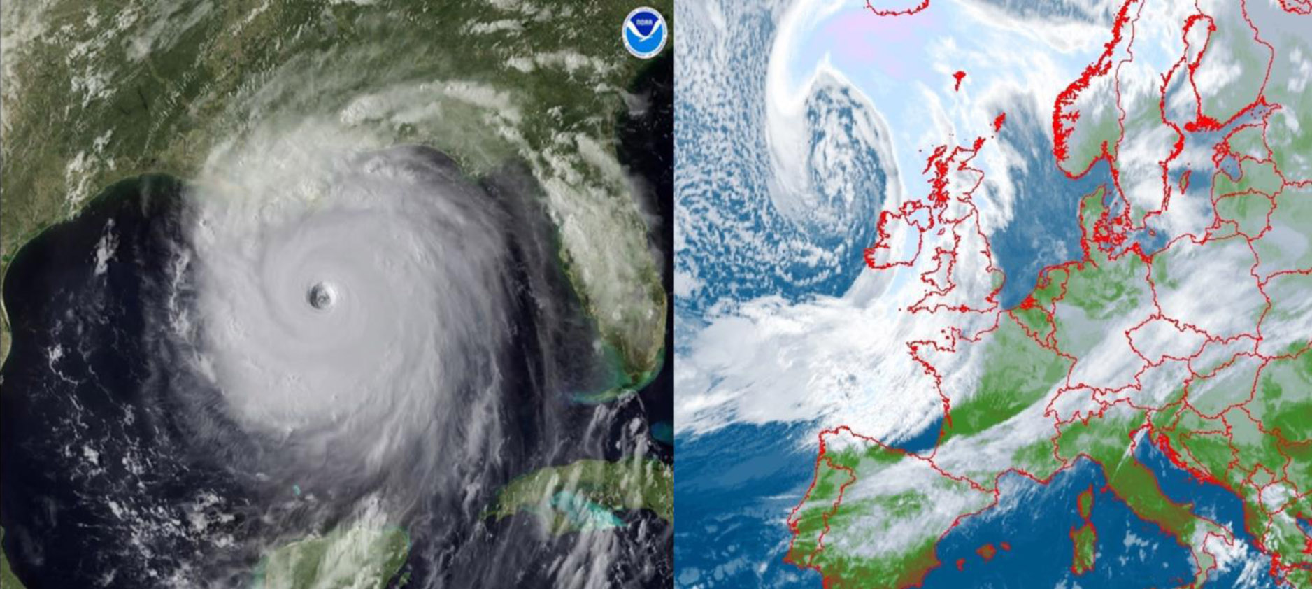 Obrazy satelitarne: huraganu (po lewej; źródło NOAA) i aktywnego niżu z układem frontów atmosferycznych z ośrodkiem w rejonie Wysp Brytyjskich (po prawej; źródło METEOSAT).