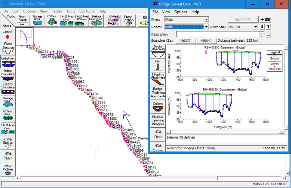Przykład implementacji wieloprzęsłowego mostu w modelu 1D.