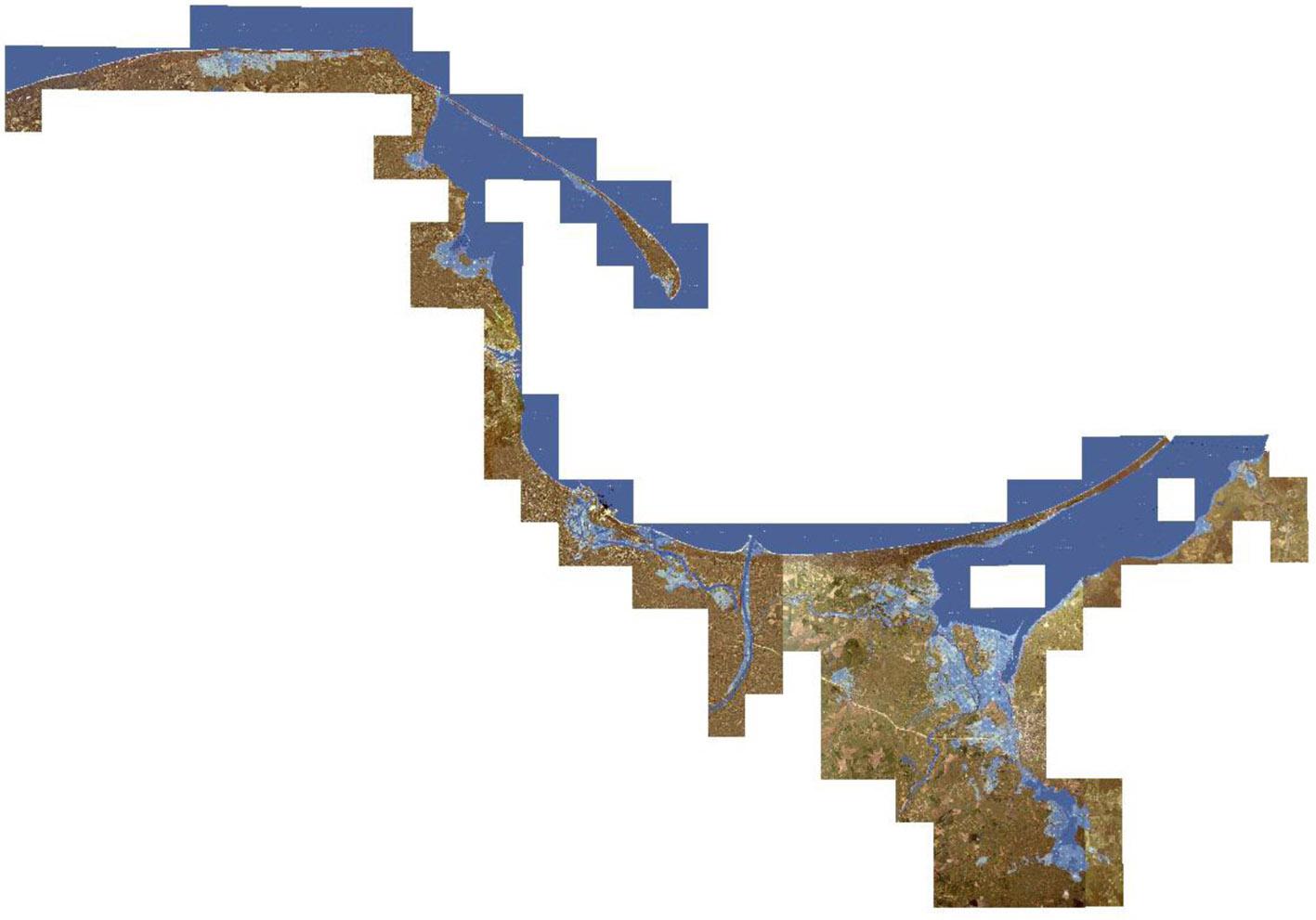 Mozaika rastrów GEOTIFF map zagrożenia powodziowego od strony morza (scenariusz H 0,2%) na obszarze UM w Gdyni.