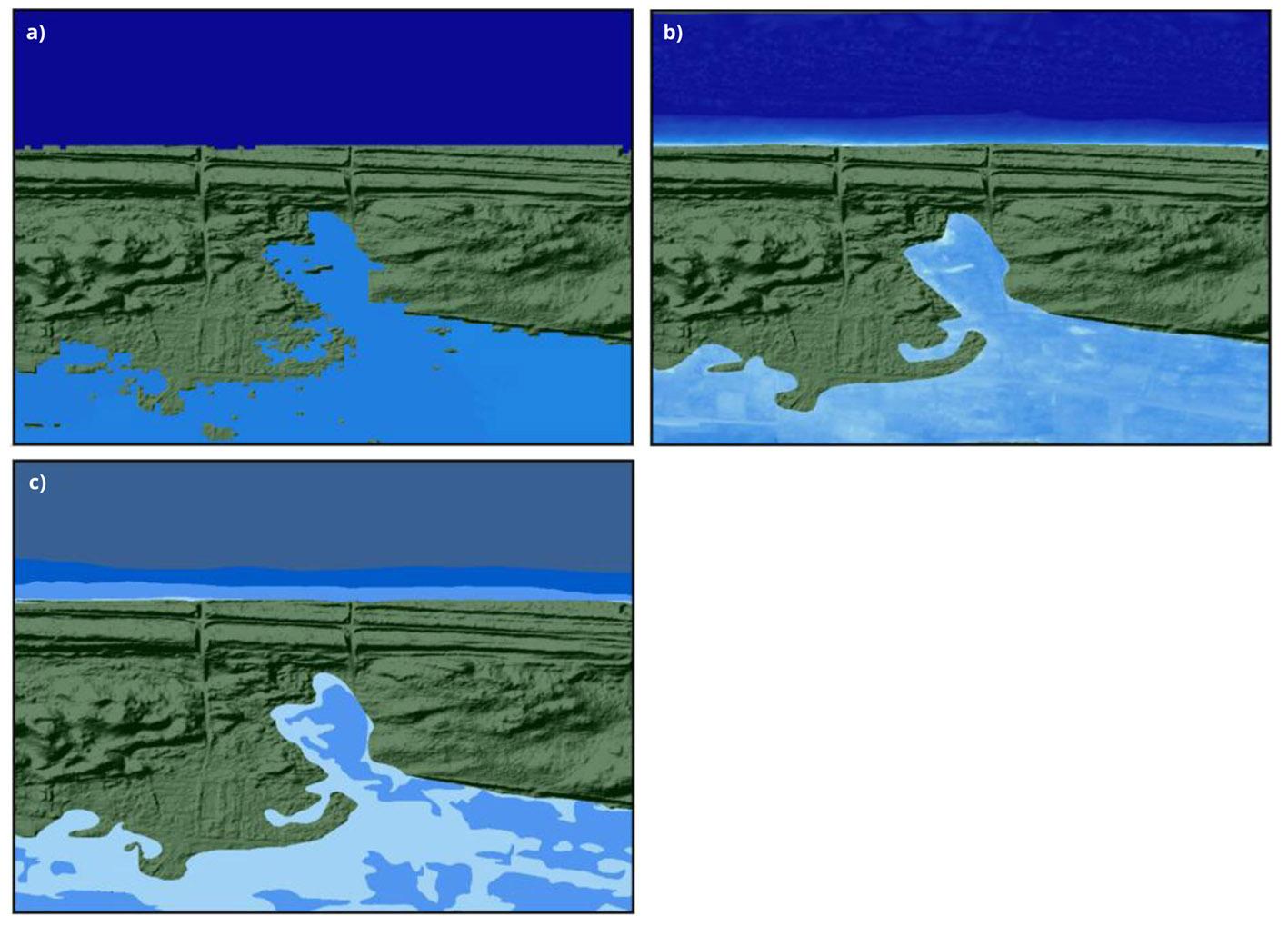 Etapy przetwarzania wyników modelowania hydrodynamicznego: a) numeryczny model powierzchni wody; b) raster głębokości wody; c) poligony klas głębokości.