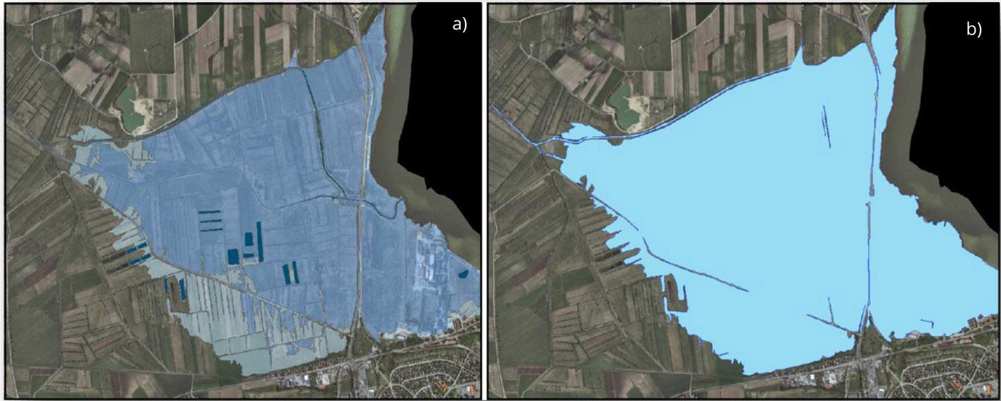 Mapy prezentujące: warstwę głębokości wody (a) i wynikowy obszar zagrożenia powodziowego (b).
